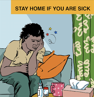 Sick indigenous person staying at home.