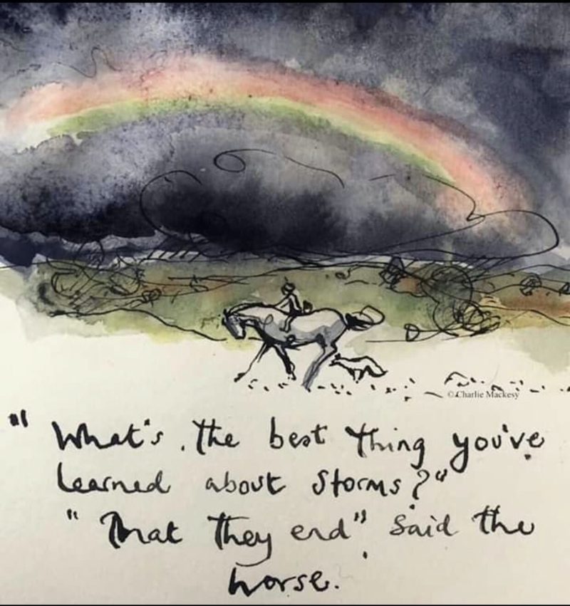 Painted storm clouds with rainbow, with a man on a horse galloping.