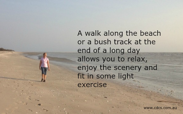 Walking along a deserted beach can help the release stress that has built up over the day.