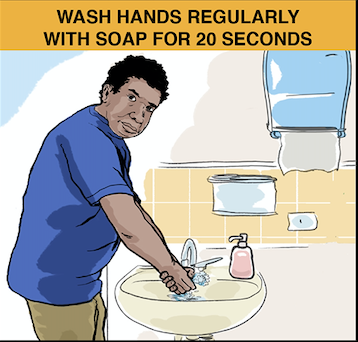 Indigenous person washing their hands correctly.