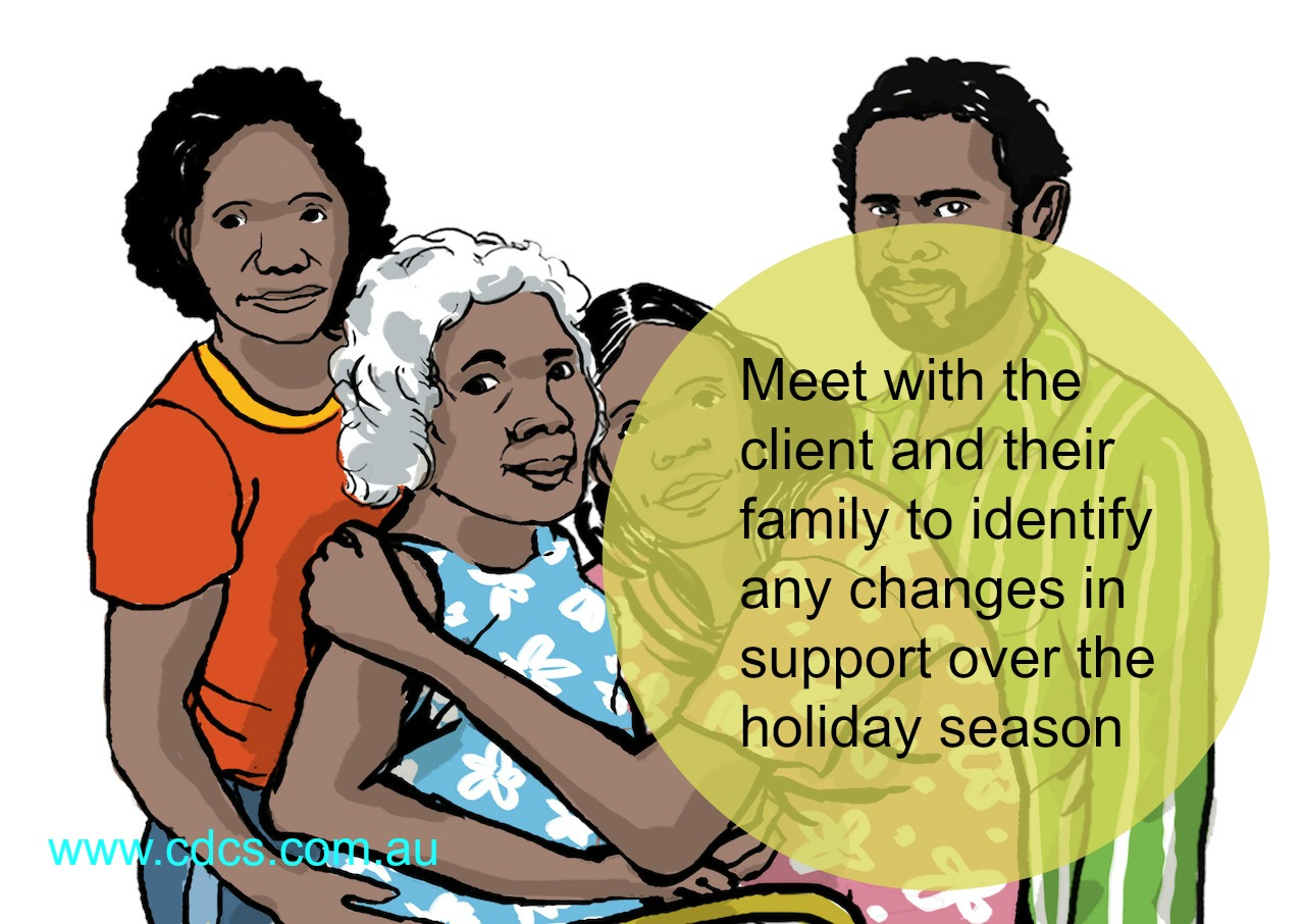 Ensure meetings are held in good time to identify any changes in support needs for the client over the holiday season