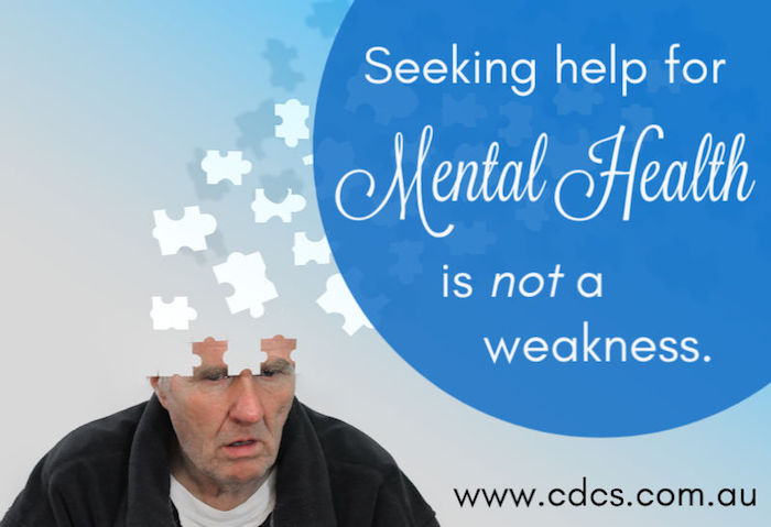 An elderly man is pictured with puzzle pieces coming from his head, representing confusion or lost memories. Some text reads: Seeking help for Mental Health is not a weakness.